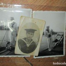 Fotografía antigua: 3 FOTOS BARCO ACORAZADO ALMIRANTE CERVERA TRIPULACION EN FERROL 1939 A 1941 FINAL GUERRA CIILVIL. Lote 195598830