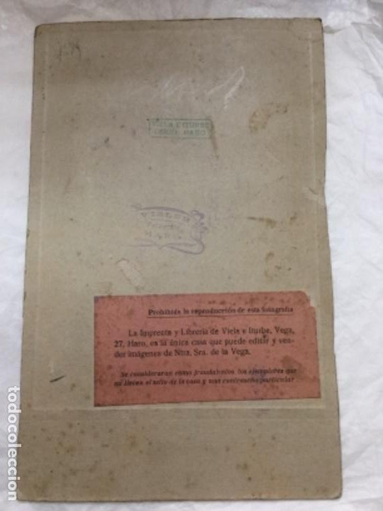 Fotografía antigua: ANTIGUA FOTOGRAFIA DE NUESTRA SEÑORA DE LA VEGA - PATRONA DE HARO - VIELA E ITURBE - VISLER- 22x14cm - Foto 2 - 195954536