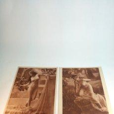 Fotografía antigua: PAREJA DE FOTOGRAFÍAS ARTÍSTICAS DE MUJERES DESNUDAS. AÑOS 10-20. SIGLO XX. 24 X 18 CM.. Lote 199321388