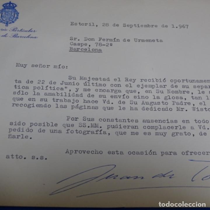 Fotografía antigua: fotografias de los reyes eméritos y don Juan de bombón y mujer.firmadas por todos.con cartas firmada - Foto 8 - 199678197