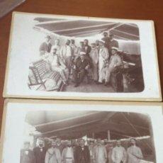 Fotografía antigua: 2 FOTOGRAFIAS MUY ANTIGUAS , PERSONAL DE BARCO , CAPITAN , ETC , CUBA ?. Lote 201195888