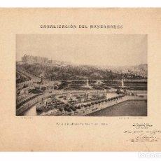 Fotografía antigua: MADRID.- CANALIZACIÓN DEL MANZANARES. ISLA Y NUEVO PUENTE DEL REY. FOTOTIPIA DE HAUSER Y MENET.46X32. Lote 202656343