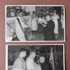 Fotografía antigua: LOTE 2 ANTIGUAS FOTOGRAFÍAS SACERDOTE. ADORACIÓN NOCTURNA. FOTÓGRAFO MASSAFONT. GERONA. 1959.. Lote 203071962