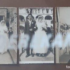 Fotografía antigua: LOTE 3 FOTOGRAFÍAS BODA. NOVIA. IGLESIA SAGRADA FAMILIA LA BAUMA. CASTELLBELL. BARCELONA. AÑOS 50.. Lote 203269911