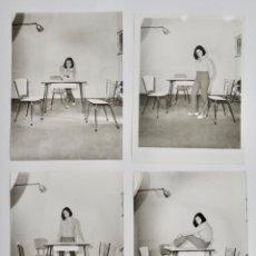 Fotografía antigua: LOTE DE 4 FOTOGRAFÍAS COMERCIALES. MODELO Y MUEBLES DE FORMICA. FOTO-ESTUDIO GUILLERMO. ZARAGOZA. Lote 203816925