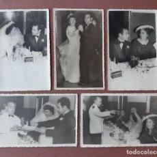 Fotografía antigua: LOTE 5 ANTIGUAS FOTOGRAFÍAS NOVIOS. BODA. 1956. FOTO DÍAZ. MADRID. AÑOS 50.. Lote 208875505