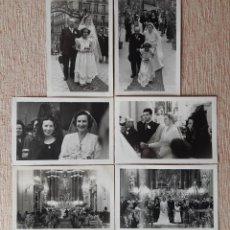 Fotografía antigua: LOTE 6 ANTIGUAS FOTOGRAFÍAS NOVIOS. BODA. 1949. FOTO CERVERA. MADRID. AÑOS 40.. Lote 208951585