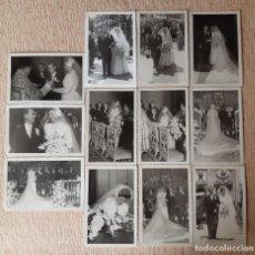 Fotografía antigua: LOTE 12 ANTIGUAS FOTOGRAFÍAS NOVIOS. BODA. 1953. FOTO ISALLE. MADRID. AÑOS 50.. Lote 208952350