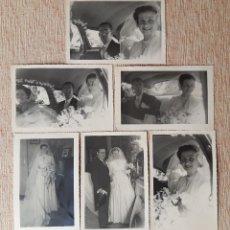 Fotografía antigua: LOTE 6 ANTIGUAS FOTOGRAFÍAS NOVIOS. BODA. 1953. FOTO MARQUEZ. MADRID. AÑOS 50.. Lote 208953320