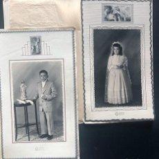 Fotografía antigua: FOTOGRAFO GARUZ ( GRAUS - HUESCA ) 2 RETRATOS NIÑOS PRIMERA COMUNION. Lote 217145010