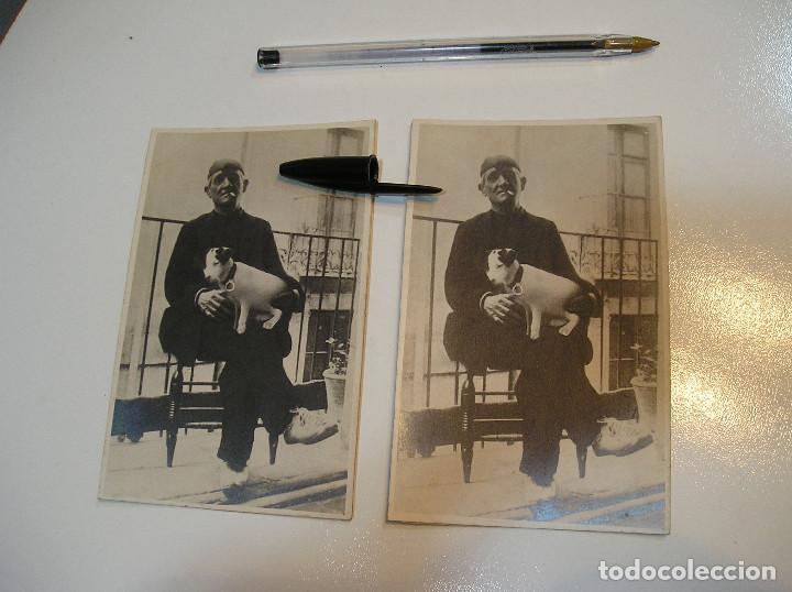 Fotografía antigua: ANTIGUA FOTO FOTOGRAFIA CARTON DURO SEÑOR CON PERRO LOTE 2 FOTOS REAL CASA MARIA GANDIA (20-10-2) - Foto 2 - 221432593