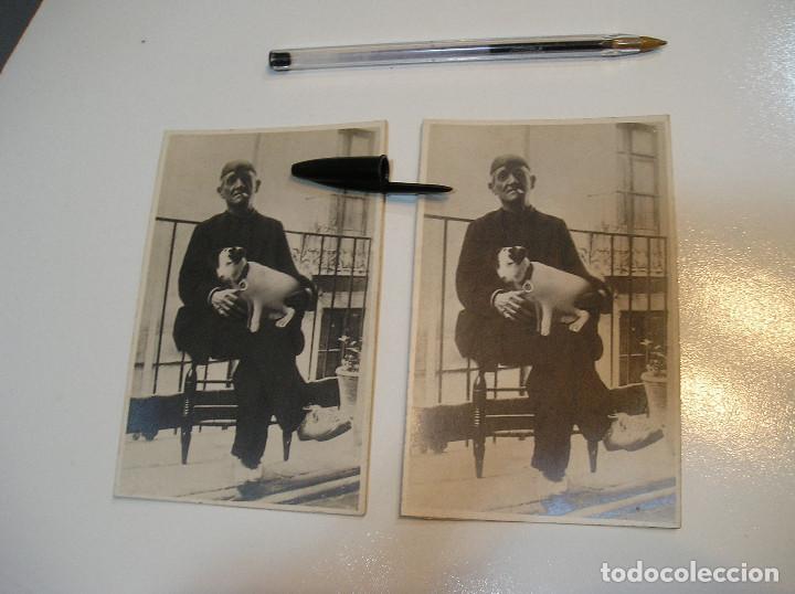 Fotografía antigua: ANTIGUA FOTO FOTOGRAFIA CARTON DURO SEÑOR CON PERRO LOTE 2 FOTOS REAL CASA MARIA GANDIA (20-10-2) - Foto 3 - 221432593