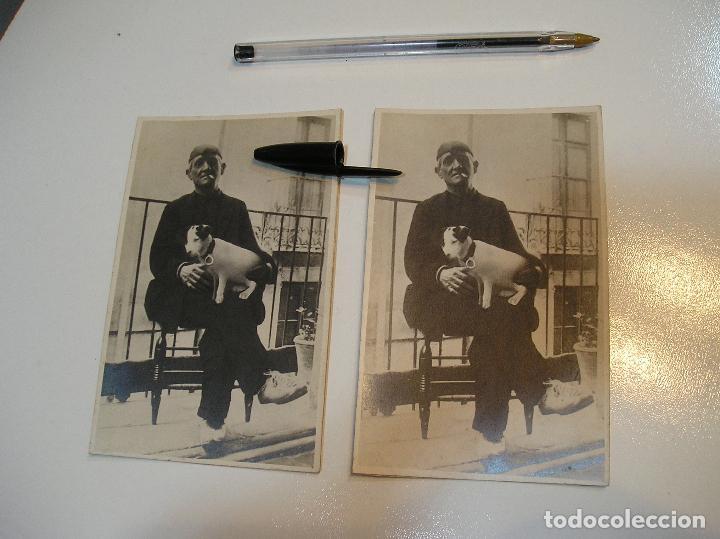 ANTIGUA FOTO FOTOGRAFIA CARTON DURO SEÑOR CON PERRO LOTE 2 FOTOS REAL CASA MARIA GANDIA (20-10-2) (Fotografía - Artística)