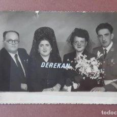 Fotografía antigua: ANTIGUA FOTOGRAFÍA BODA. NOVIOS. MILITAR. FOTO ARBONA. CEUTA. 1952. AÑOS 50. PAJE.. Lote 221691428