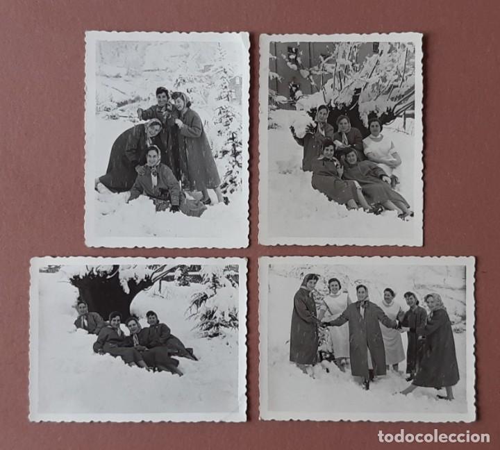 LOTE 4 FOTOGRAFÍAS ENFERMERAS NIEVE HOSPITAL MURIAS. FOTO VEGA. MIERES. 1957. AÑOS 50. TERESA PAJE. (Fotografía - Artística)