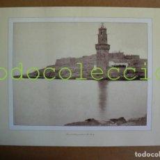 Fotografía antigua: FOTOGRAFIA LAMINA DE LA TORRE DE SEÑALES Y CASTILLO DE SAN CARLOS - 100 AÑOS DE FOTOGRAFIA Nº 85. Lote 222858517