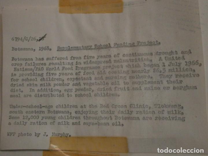 Fotografía antigua: FOTOGRAFÍA Photo by J. Murphy Supplementary School Feeding proyect Botswana 1968 24X18 CM. - Foto 3 - 226813540
