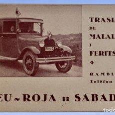 Fotografia antiga: TRASLLAT DE MALALTS I FERITS - CREU ROJA - SABADELL - PRINCIPIO S XX. Lote 226989185