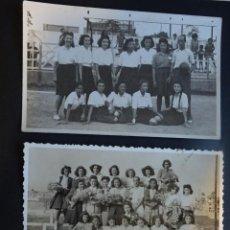 Fotografía antigua: 3 FOTOGRAFÍAS DE UN GRUPO DE DEPORTIVO FEMENINO DE LOS AÑOS 40, MUY POSIBLEMENTE DE BARCELONA. Lote 227612125