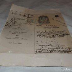 Fotografía antigua: INAUGURACIÓN DEL ESTADIO MUNICIPAL DE ONTENIENTE,MENÚ ALMUERZO,GRAL MOSCARDÓ. Lote 241925760