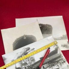 Fotografia antica: LOTAZO 3 FOTOS ORIGINALES 24X18 BOTADURA BUQUE POLA DE SIERO. 1976 E.N. BAZÁN. Lote 245024135