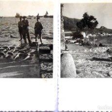 Fotografia antica: F-5025. ROSAS (GIRONA). 2 FOTOGRAFIAS: SUBASTA DE PESCADO; VISTA PARCIAL. AÑOS 60.. Lote 245634895