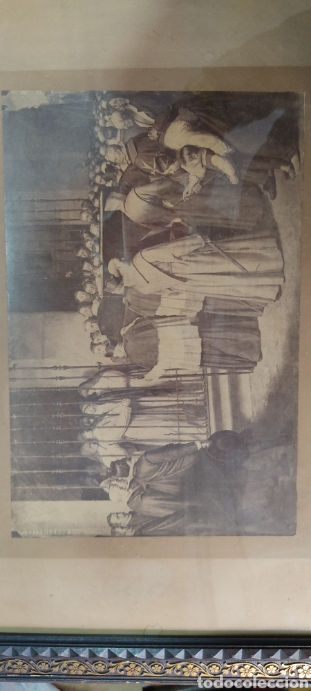 Fotografía antigua: Cuadro con fotografía? de j. Laurent, siglo XIX. Curiosa estampa de un entierro multitudinario. - Foto 2 - 254201310