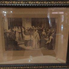 Fotografía antigua: CUADRO CON FOTOGRAFÍA? DE J. LAURENT, SIGLO XIX. CURIOSA ESTAMPA DE UN ENTIERRO MULTITUDINARIO.. Lote 254201310