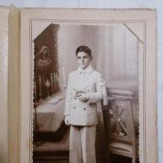 Fotografía antigua: FOTOGRAFIA, NIÑO VESTIDO DE COMUNION, FOTO CAMBI, RIVADAVIA-BUENOS.AIRES. Lote 254618880