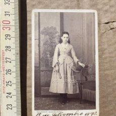 Photographie ancienne: FOTOGRAFIA ANTIGUA DE VISITA FOTOGRAFIA VALENTIN MARIN DE 1870 RETRATO DE MUJER. Lote 255349795