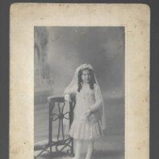 Fotografia antica: ER- EXTRAORDINARIA FOTOGRAFIA ANTIGUA- NIÑA DE COMUNION-FOTO- PLIEGO - PAMPLONA-PCPI.SIGLO XX. Lote 294451918