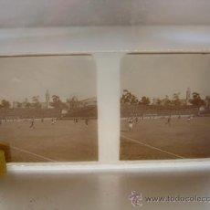 Coleccionismo deportivo: CRISTAL POSITIVO ESTEREOSCOPICO DE BARCELONA - AÑO 1923 - CAMPO DE FUTBOL LES CORTS ?. Lote 22988751