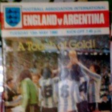 Coleccionismo deportivo: PROGRAMA OFICIAL FUTBOL INGLATERRA - ARGENTINA 1980. Lote 27612762