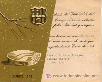 INTERESANTE FELICITACION DE NAVIDAD DEL FUTBOL CLUB BARCELONA -BARÇA 1959 (Coleccionismo Deportivo - Documentos - Fotografías de Deportes)