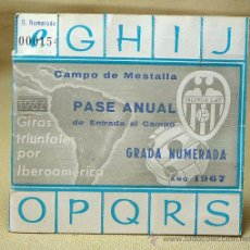 Coleccionismo deportivo: PASE ANUAL, GRADA NUMERRADA 1967, CAMPO MESTALLA, VALENCIA, DANONE. Lote 21814520