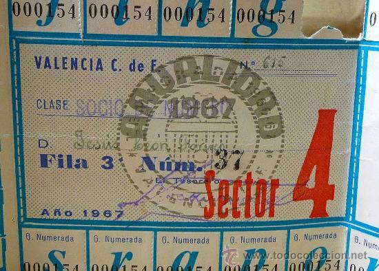 Coleccionismo deportivo: PASE ANUAL, GRADA NUMERRADA 1967, CAMPO MESTALLA, VALENCIA, DANONE - Foto 4 - 21814520
