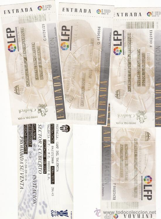 5 ENTRADAS FÚTBOL VALENCIA CF - LOTE 5 (Coleccionismo Deportivo - Documentos - Fotografías de Deportes)