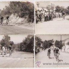 Coleccionismo deportivo: ALCIRA (VALENCIA). FOTÓGRAFO JUAN GIMÉNEZ. CICLISMO. 6 FOTOS ORIGINALES DE 7-10-1956 Y 12-9-1961. Lote 36493786