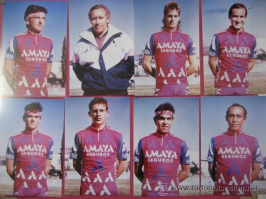 FOTOGRAFIAS KODAK (8) EQUIPO AMAYA 1991 - (7 CICLISTAS + EL DIRECTOR) (Coleccionismo Deportivo - Documentos - Fotografías de Deportes)