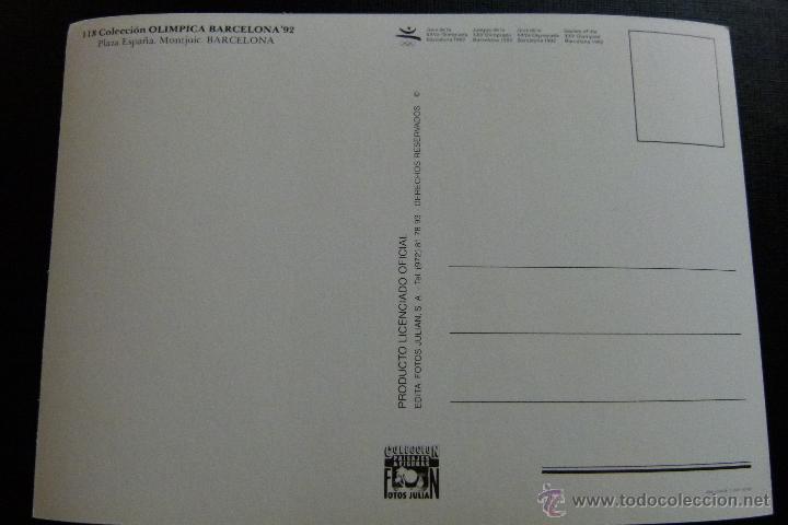 Coleccionismo deportivo: POSTAL CONJUNTO DE 3 POSTALES COLECCION OLIMPICA BARCELONA 92 Nº 52 , 63 Y 118 - Foto 2 - 45506763