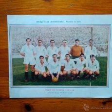 Coleccionismo deportivo: ANTIGUA LÁMINA SEVILLA CLUB DE FÚTBOL, TEMPORADA 1945-46, DE LA REVISTA AVENTURERO. MEDIDAS 26X21. Lote 47614072