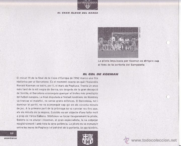 Coleccionismo deportivo: Lámina del gol de Koeman, FC Barcelona n. 52 de la colección El gran álbum del Barça. La vanguardia - Foto 2 - 52404424
