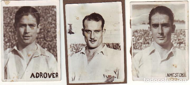 TRES FOTOGRAFÍAS DE FUTBOLISTAS AT. DE MADRID AÑOS 1940 (Coleccionismo Deportivo - Documentos - Fotografías de Deportes)