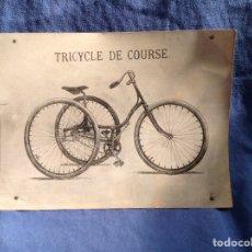 Coleccionismo deportivo: FOTOGRAFÍA ANTIGUA TRICYCLE DE COURSE( FOTOGRAFIADA EN LA FÁBRICA PEUGEOT DE LYON. Lote 77929907
