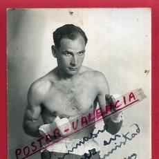 Coleccionismo deportivo: FOTOGRAFIA BOXEO, FOTO BOXEADOR JOSE LOPEZ , AUTOGRAFO , VALENCIA 1932 ,ORIGINAL ,BX45. Lote 83298284