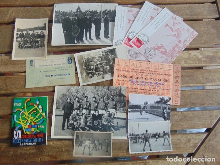 LOTE DE FOTOGRAFIAS Y DOCUMENTACION DE HOCKEY SOBRE PATINES CAMPEONATO DEL MUNDO (Coleccionismo Deportivo - Documentos - Fotografías de Deportes)