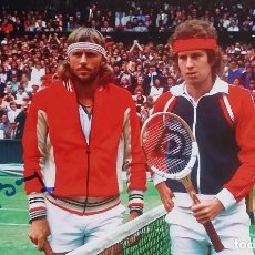 Coleccionismo deportivo: FOTOGRAFÍA FIRMADA POR BORG, FINAL WIMBLEDON 1980 CON MACENROE. Lote 120524915