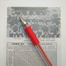 Coleccionismo deportivo: ANTIGUA HOJA FUTBOL JUGADORES CLUB ALINEACION FOTOGRAFIAS LIGA - POBLENSE. Lote 134970962