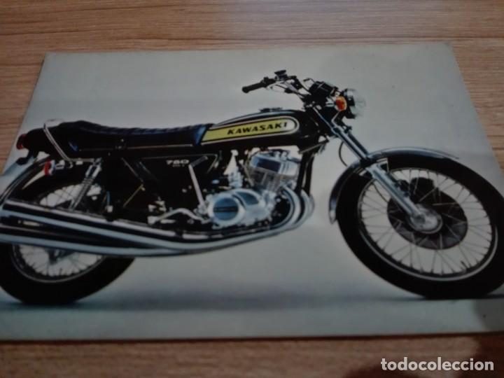 """FOTO POSTAL MOTO KAWASAKI H2 """"MACH IV"""",1971/75-COLECCION PERLA 314/3 (Coleccionismo Deportivo - Documentos - Fotografías de Deportes)"""