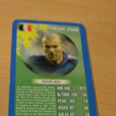 Coleccionismo deportivo: CARTA DE TOP TRUMPS ZINEDINE ZIDANE (FRANCIA). Lote 143170162